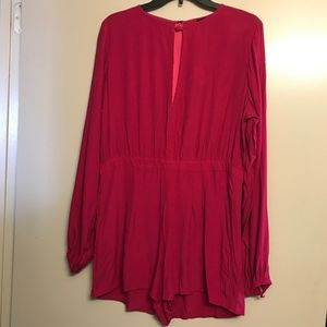 NWT Motel | Hot Pink Sienna Long Sleeve Romper, XL